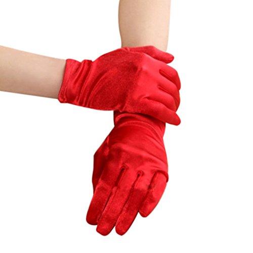 dschuhe Fingerhandschuhe Damen glänzend Elastische Satinhandschuhe Abendhandschuhe Hochzeithandschuhe Kostümhandschuhe für Hochzeit Party Karneval (Kurze Rote Handschuhe)