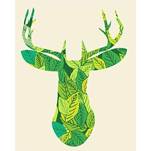 kinder färbung puzzle spiel spielzeug malerei erwachsene reine hand malerei grünes blatt hirsch dekoration malerei urlaub geschenk 16 * 20 zoll mit inneren rahmen malerei ()