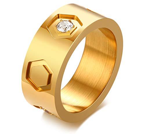 Anyeda Hombres Oro Anillos Acero Inoxidable Anillos con Diamantes para Mujer Forma de Hex‡gono Tama-o del Anillo 25