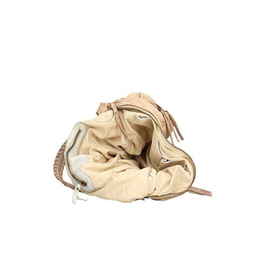 Chicca Borse Borsa a tracolla in pelle 30x28x10 100% Genuine Leather bianco cenere