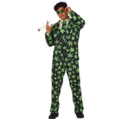 Unbekannt Herren Anzug Hanf Mr.Cannabis schwarz grün Karneval Fasching Party-Look (L)