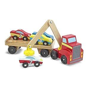 Melissa & Doug Magnetic Car Loader Wooden Toy Set (Cars & Trucks, Helps Develop Motor Skills, 4 Cars and 1 Semi-Trailer Truck)