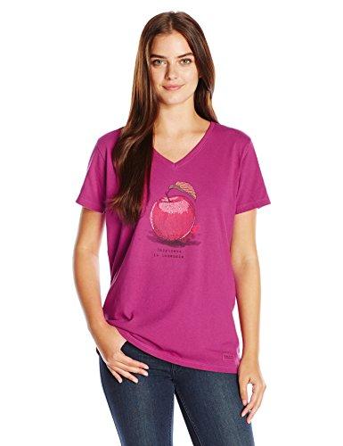 Life Is Good Damen Crusher Homemade Apple Gravur T-Shirt, Wild Pflaume, damen, Wild Plum, S (Crusher Apple)