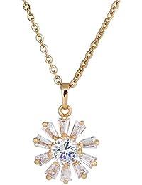 a967f4671b45 Yazi Lind Moderno Mujeres de bisutería 18 K oro überzogenes circonitas  cristal colgante cadena collar