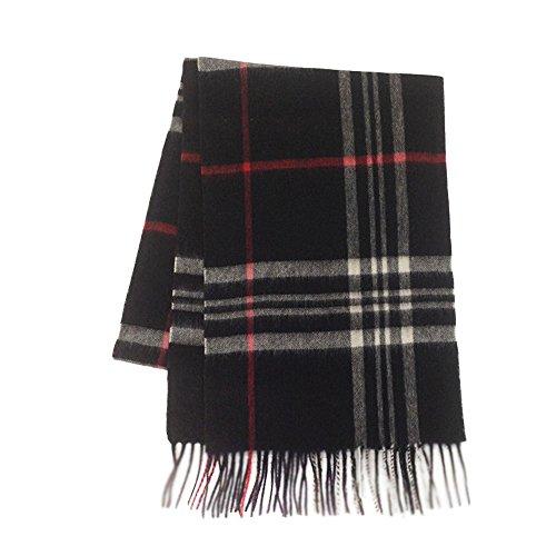 LKKLILY-Damen Schal aus 100% Wolle Super Soft Wool English Classic Warm Woman, Schwarz -