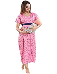 164c6f28704f9 TUCUTE Women's Hosiery Short Feeding/Nursing/Maternity Nighty/Nightwear/Nightdress  with Floral