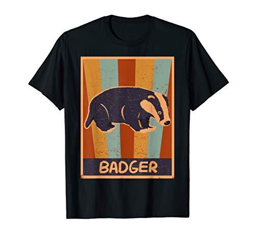 Vintage Retro Badger Dachs Kleidung Geschenk Kinder Herren T-Shirt -