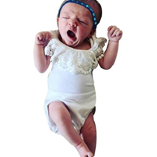 Kinderbekleidung,Neueste Modell Neugeborenes Baby Mädchen Kleider Bowknot Spitze Prinzessin Spielanzug Overall Body Outfits Streetwear Blusen hautfreundlicher Baumwolle (12-18M/90, Weiß-ByA)