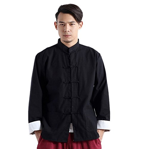 Herren Tang Anzug Chinesisch Tunika Anzug Leinen Langarm Button Down Shirt Tops