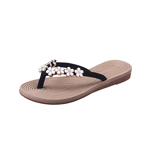 VJGOAL Damen Zehentrenner, Damen Mode Böhmische Sommer-Sandelholz-Pantoffel Innenim Freien Flache Strand-Schuhe Flipflops (38 EU, Schwarz)