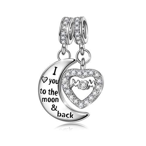 Ninaqueen donna charm pendente luna cuore argento sterling 925 compatibile con charm bracciale regali festa della mamma natale anniversario compleanno festa della mamma ragazza lei