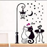 Upxaing Stickers Muraux Bricolage Autocollant Mural de Mignon Chats Chambre Adulte Couple Decal Amovible Imperméable Décoration de la Maison Décoration Murale (A)