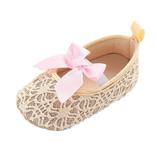 FEITONG Kleinkind Mädchen Krippe Schuhe Neugeborene Blumen Weiche Alleinige Baby Turnschuhe (11, Rot) Gold