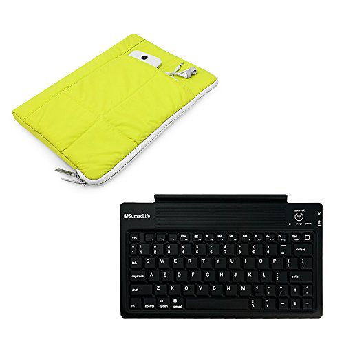 """2en 1confortable matelassé manches Coque pour Acer Switch/Iconia One/Iconia Tab/Iconia A/Aspire Switch + clavier sans fil Bluetooth 10"""" citron vert"""