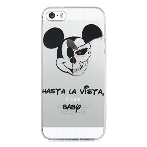 Coque iPhone SE Coque iPhone 5 5s coque silicone transparente | JammyLizard | Edition Limitée Noel - Coque transparente silicone pour iPhone SE et iPhone 5 5s, Kombi Van VW - Surfeur FUN - Hasta la Vista Baby