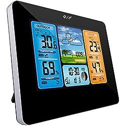 Zubita Station météo de, horloges de Surveillance météo avec capteur intérieur/extérieur LCD coloré Horloge Radio-pilotée numérique à température contrôlée Horloges Station météo sans Fil - Noir