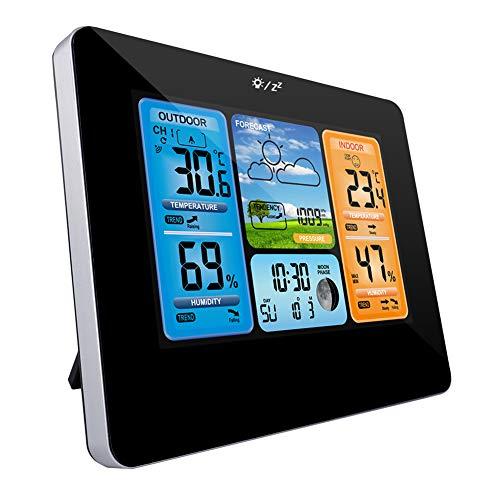 Zubita Stazione Meteo con Sensore Esterno, Wireless Stazione Meteorologica LCD Colorato Digitale con Allarme e Temperatura umidità Barometro Weather Alarm Clock Nero
