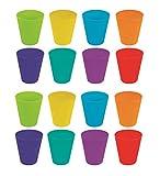 Invero, 16vasos de plástico para niños, todos con acabado de brillantes colores, ideales para fiestas al aire libre, picnics, barbacoas, viajes y más