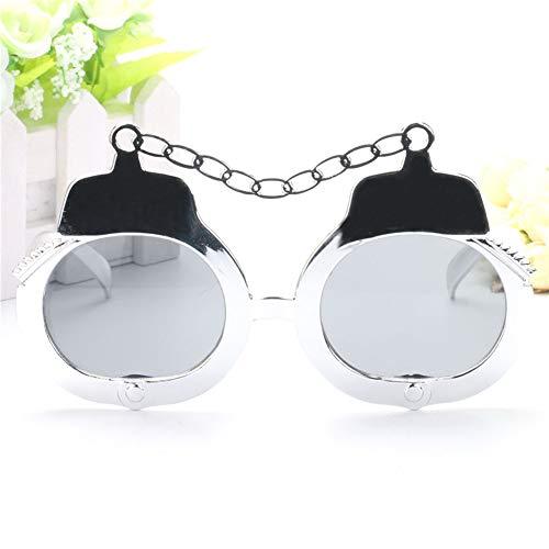 Unbekannt Lustige Silber Handschellen Kostüm Gläser Neuheit Sonnenbrille Photo Booth Requisiten Partei Bevorzugungen für Halloween Partei Liefert Dekoration