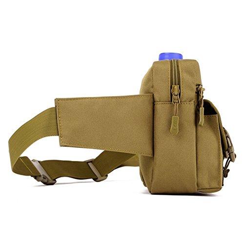 Erasky Sport Hüfttasche Tactical mit Trinkflasche und verstellbarem Bauchgurt/Gürteltasche Handytasche für Camping Wandern Outdoor/Mode Multifunktionale Kit Bag Black