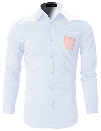 FLATSEVEN Chemise Cintrée Slim Fit Designer Habillée Homme Chic SH144 Blanc