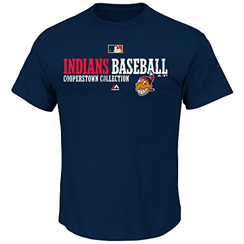 Majestic MLB Baseball T-Shirt Cleveland Indians Team Property Cooperstown in S (SMALL) (Baseball-shirt Indian)