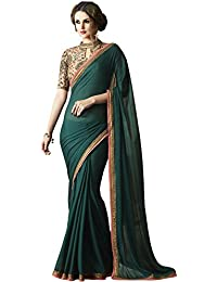 Fashionfort Women's Silk Saree With Banglori Blouse Piece (Fftz14_Turquoise Blue & Green)