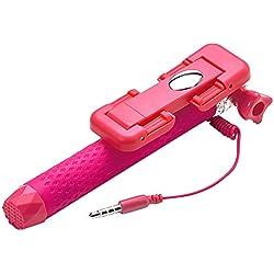"""Celly Mini Selfie Asta Tascabile, Supporto Universale Regolabile per Smartphone fino a 5,5"""", Rosa"""