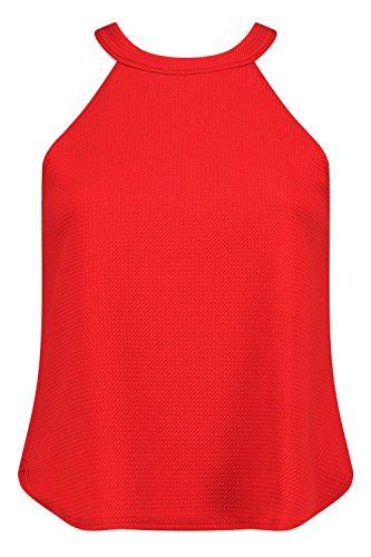 rouge Femmes Petite Eva Top À Bretelles Col Montant Rouge