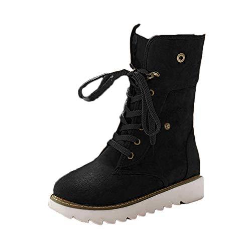 Botas de Nieve Mujer Invierno Forradas Calientes Planos Fur Calentar Caña Altas Piel Antideslizante Cálidas Botines Snow Boots Casual Negro 39