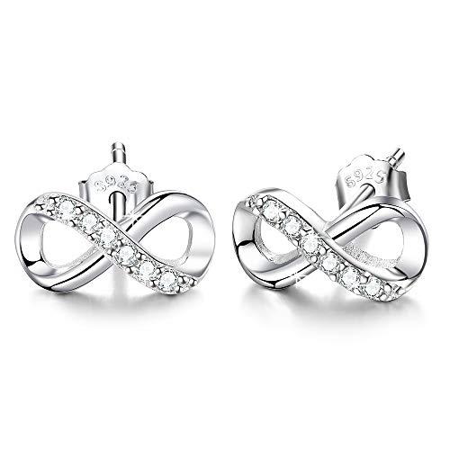 Unendlichkeit Ohrringe 925 Sterling Silber Ohrstecker Für immer Liebe Akzent Modeschmuck für Frauen Mädchen mit Geschenkbox