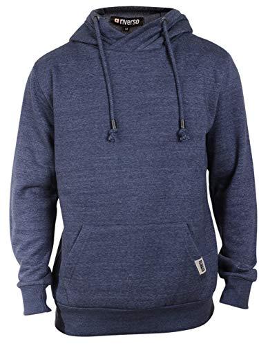 riverso Herren Kapuzenpullover Hoodie Pullover mit Kapuze 'Hubert' Uni, Größe:M, Farbe:Washed Indigo Blue Melange 1 - Hollister Kapuzen-pullover
