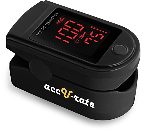 Pro Series CMS 500DL Fingertip Pulse Oximeter Blood Oxygen Saturation Monitor with silicone cover, batteries and lanyard (Jet Black)