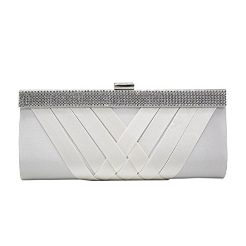 YYW Crystal Clutch Bag, Poschette giorno donna White