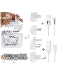 Travel Charger, Fone-Stuff® - 2 Port USB Multi Mains Plug (UK, EU,US & AU Adaptors) with Apple Lightning (MFI) & Micro USB Cable