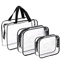 3 Pcs Clear Cosmetic Toiletry Travel Wash Makeup Bags, Travel Toiletry Bag, Airport Airline Compliant Bag, Black