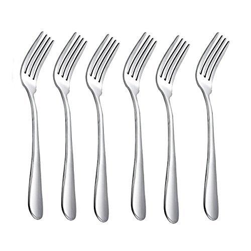 HornTide Besteck Besteck-Sets 6-teiliges Dinner Fork Menuegabel 4 Zinken 18cm Edelstahl hochglanzpoliert
