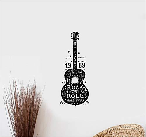 wandaufkleber 3d Wandaufkleber Schlafzimmer Gitarren-Rock-and-Rollmusik Harte Retro Indie-Hippies