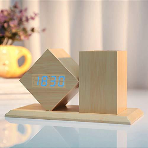 Yxgs simpatico portapenne in legno intelligente elettronico led sveglia in legno orologio da tavolo digitale termometro classico timer, regali per bambini, decorare casa-blu