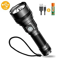 Bovon LED Flashlight, USB Rechargeable Outdoor Flashlight Extremely Bright for Kids Camping Hiking Biking & Emergencies (5 Adjustable Modes, IP65 Waterproof, 1 x 18650 Batteries Included)