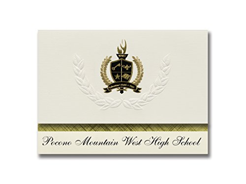 Signature-Ankündigungen Pocono Mountain West High School Pocono Summit, PA) Abschlussankündigungen, Präsidentialität, Basic Pack 25 mit goldfarbenen und schwarzen metallischen Folienversiegelung