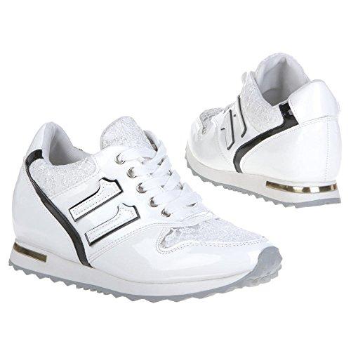 Femme z057 à chaussures de loisir Blanc - Blanc