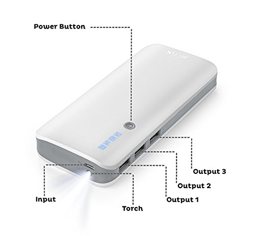 Stonx 10400mah Power Bank With Battery Pack For iPhone, mi, Lenovo, Samsung, Xiaomi Redmi Note 4/3, MI Max/ Mi A1/MI 5, all mobiles, Tablets & more(White).