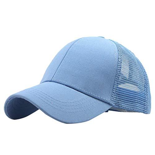 xinxinyu Sport Mütze Kappe für Damen und Herren, Pferdeschwanz unordentlich Brötchen Trucker Plain Baseball Visier Cap Unisex Hut (Light Blue) Light Blue Trucker Hut