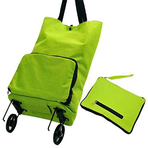 AZHom Faltbarer Einkaufswagen, tragbarer Einkaufskorb Schlepper Einkaufstasche Reisetasche Grüne Einkaufstasche