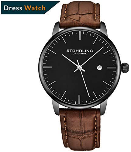 Stuhrling Original Herren-Armbanduhr aus Kalbsleder - Kleid + lässiges Design - Analoges Zifferblatt mit Datum, 3997Z Uhren für Herren Kollektion