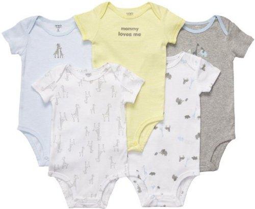 Carters Baumwolle Bodys (Carter's Bodies Set größe 44 Frühchen Baby Body 5 teilig Unterwäsche Junge US SIZE preemie)