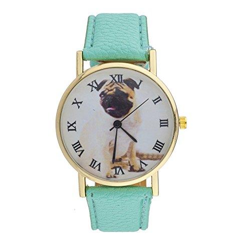 LUX Zubehör mint PU Leder Pug Römische Zahl Tierfreunde Armbanduhr