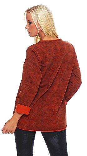 Moda Italy - Pull - Pull - Femme Gris Gris Taille unique Gris - Cognac
