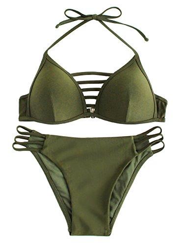 SOLY HUX Maillots de Bain 2 Pieces Push-up Bikini de Plage Taille Haute Rembourre, Vert, L